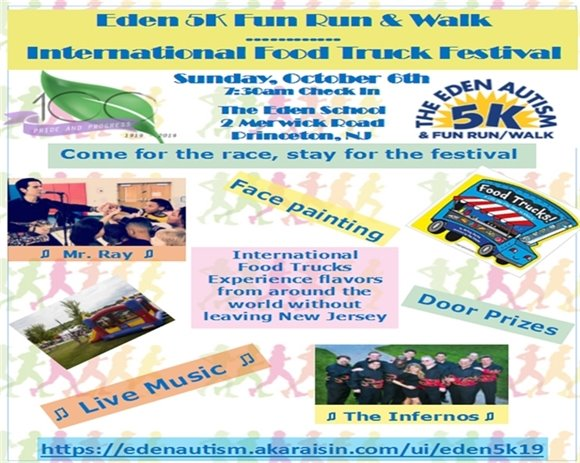 Plainsboro's Centennial 5K & Fun Run Festival Event with Eden Autism